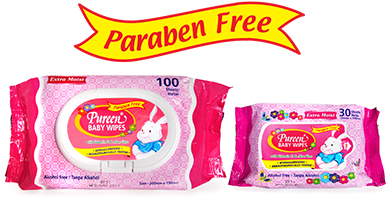 Pureen Baby Wipes in Pink Packaging