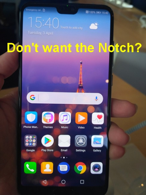 Huawei P20 no notch