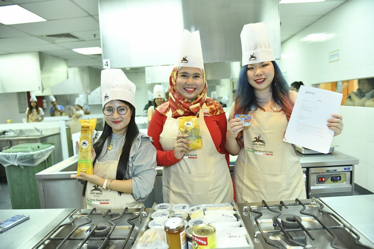 (From left to right) Syafiera Yamin, Naomie Licouz and Cindy Tong can't wait to begin cooking their first dish
