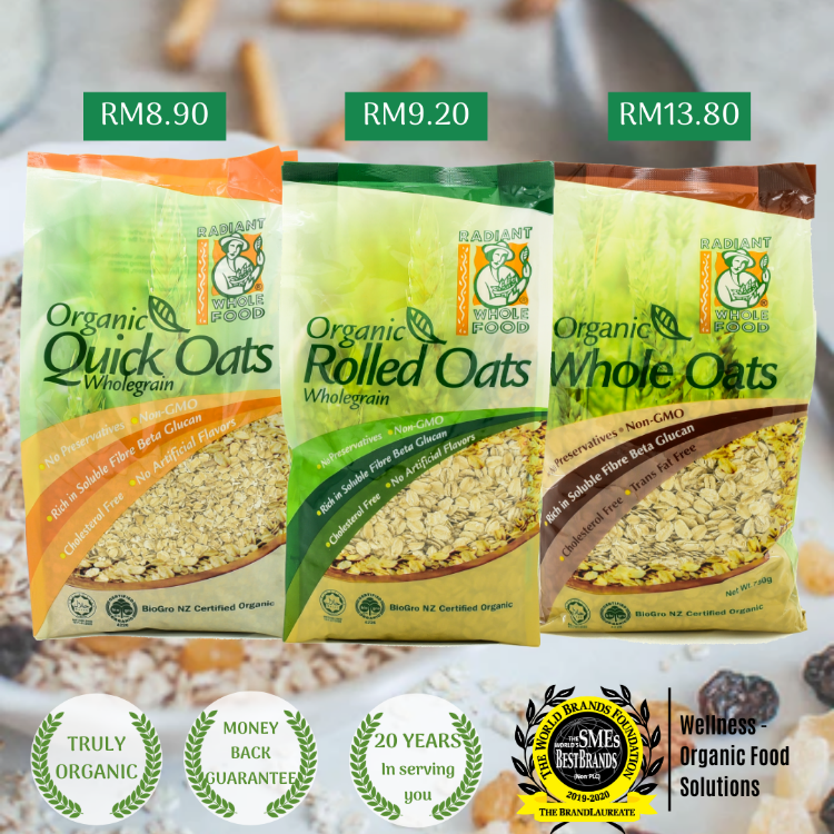 Radiant Organic Rolled Oats is one of the three oats offerings from Radiant Whole Food