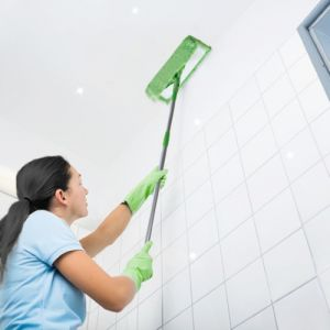Clean from top to bottom to avoid cleaning areas you've already covered