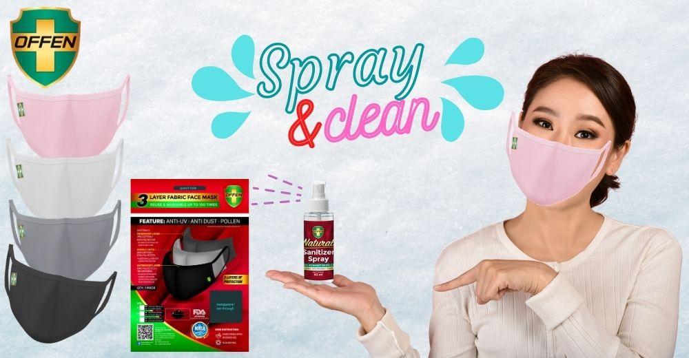 offen 3 layer fabric mask natural sanitiser spray