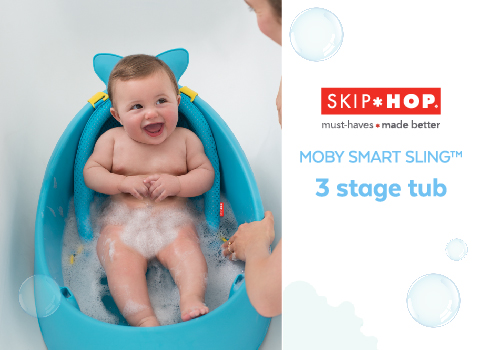 What Every Parents Wants in a Baby Bathtub: Skip Hop Moby Smart Sling 3-Stage Tub